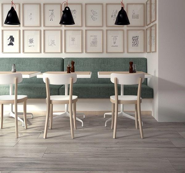 gạch giả gỗ tông màu xám đơn giản