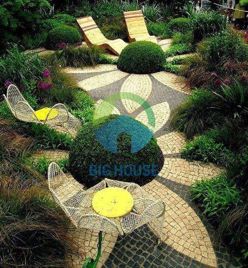 cách phối gạch lát sân vườn 1