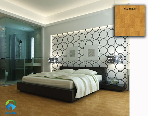 gạch lát nền phòng ngủ giả gỗ