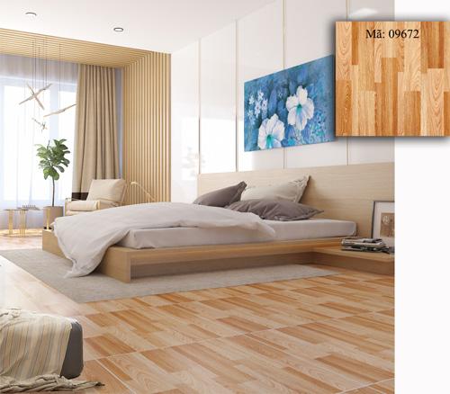 phòng ngủ lát gạch giả gỗ