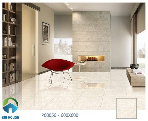 mẫu gạch lát nền Ý Mỹ P68056 vân đá vàng nhạt đơn giản
