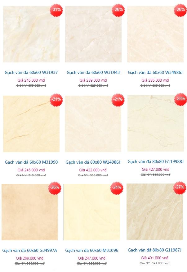 Giá gạch lát nền màu vàng chiết khấu lên tới 30%