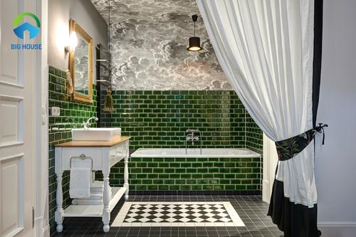 gạch ốp nhà tắm màu xanh 12