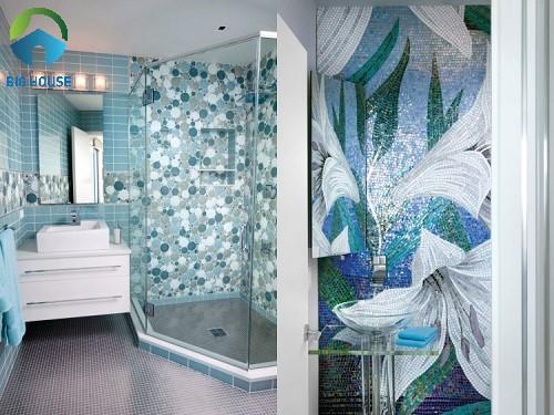 gạch ốp tường nhà tắm màu xanh 4