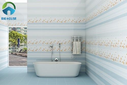 gạch ốp tường nhà tắm màu xanh