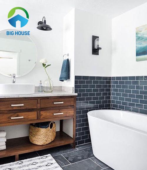 Ý tưởng phối hợp gạch ốp nhà tắm màu xanh đẹp và ấn tượng nhất 2020