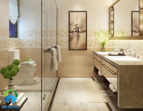 Bộ gạch ốp nhà vệ sinh Viglacera KT 3662A viên đậm vàng nâu, điểm bông tuyết