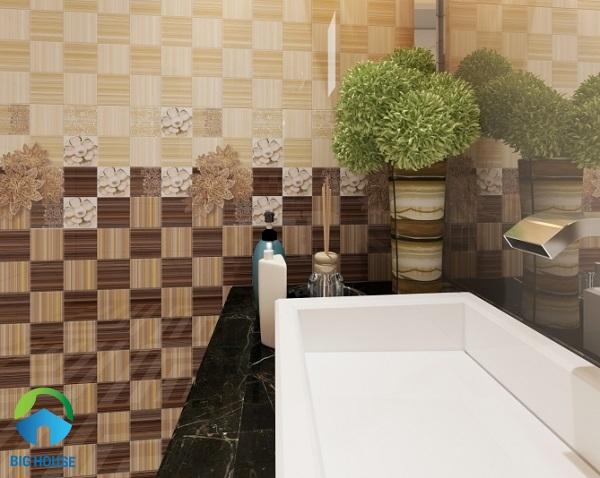 Gạch ốp tường nhà vệ sinh Viglacera B 4562, B 4561 kết hợp viên điểmB 4562A