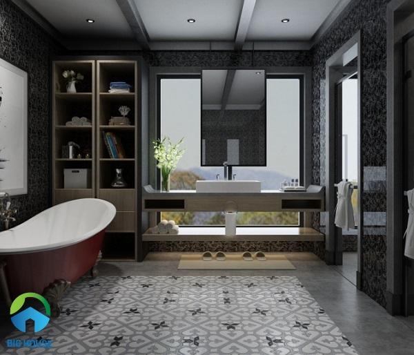 Gạch ốp tường Viglacera Q 2555 màu đen, họa tiết vân đá marble