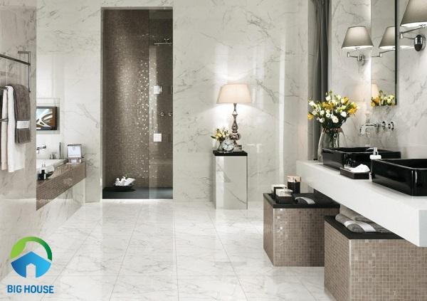 Prime 12776 là mẫu gạch ốp nhà tắm màu trắng vân đá marble random