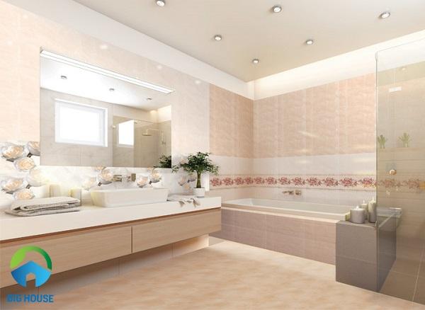 Bộ gạch ốp tường nhà vệ sinh Đồng Tâm 3060ROXY006 kem đậm