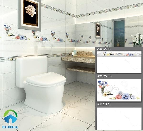 Bộ gạch ốp tường nhà vệ sinh màu trắng vân đá Ý Mỹ A36029S
