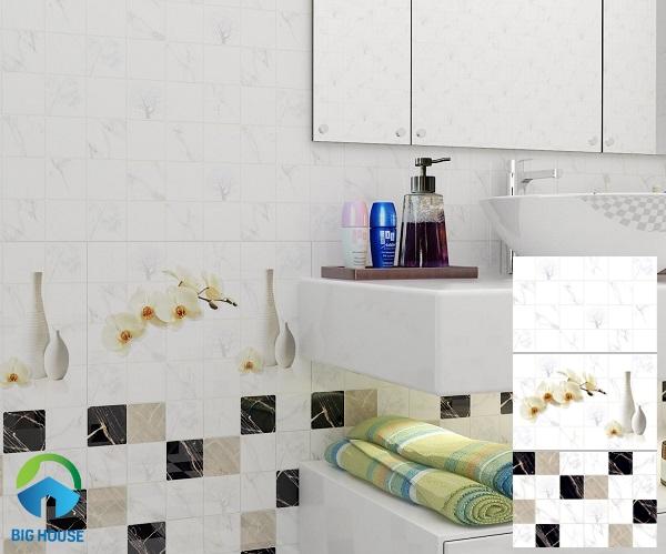 Bộ gạch ốp tường BNC 3415.16.17 họa tiết ô vuông đen - trắng- nâu vân đá, điểm hoa lan trắng