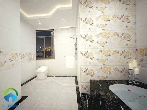 Gạch ốp tường nhà vệ sinh màu kem