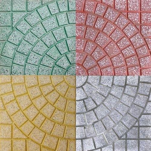 mẫu gạch terrazzo lát vỉa hè hình cánh quạt