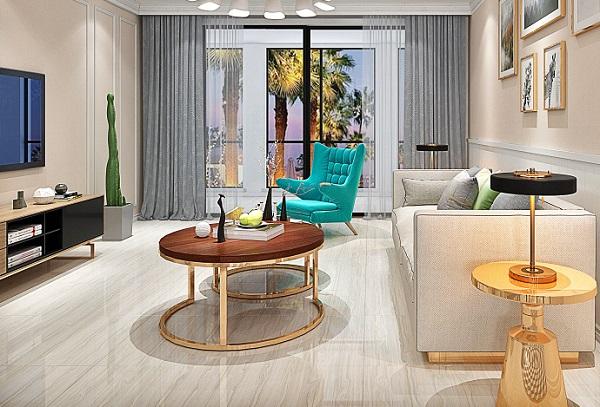 gạch granite cao cấp Ý Mỹ kích thước 60x60 mã 68045 họa tiết vân gỗ sáng màu cho phòng khách