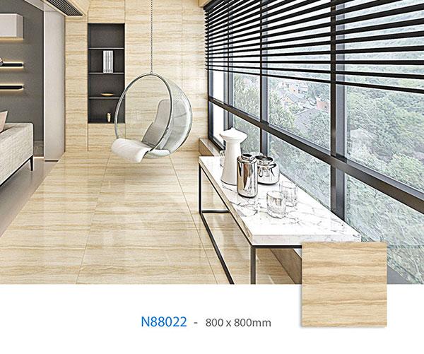 mẫu gạch granite 800x800 N88022 họa tiết vân gỗ màu nâu nhạt sang trọng