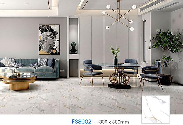 gạch granite 800x800 F88002 họa tiết vân đá marble màu trắng độc đáo