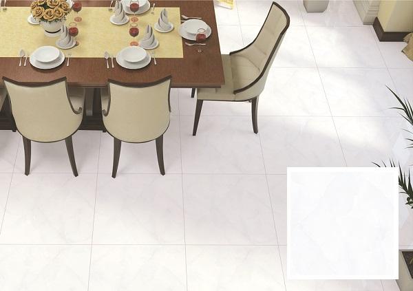 Mẫu gạch EF69005 của Ý Mỹ có màu trắng, họa tiết vân đá xám