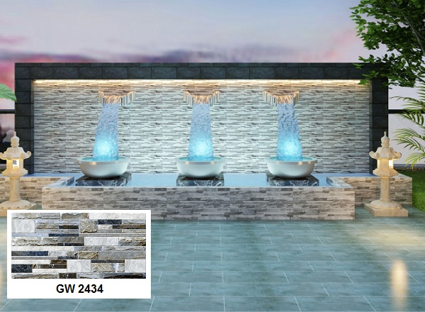 gạch ốp tường ngoài trời viglacera GW2434 ốp tiểu cảnh giếng trời