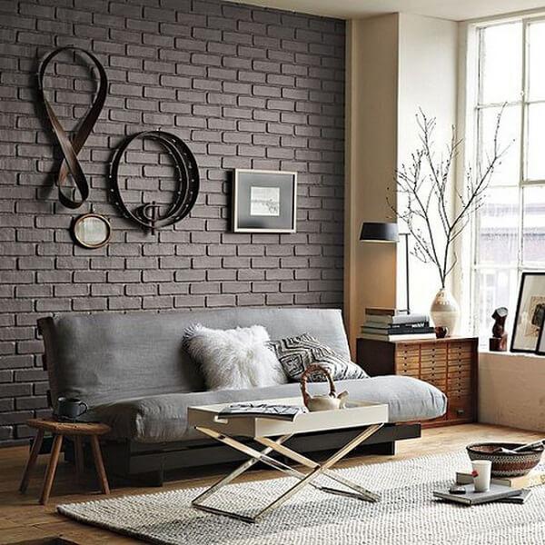 Gạch thẻ màu nâu cho không gian phòng khách
