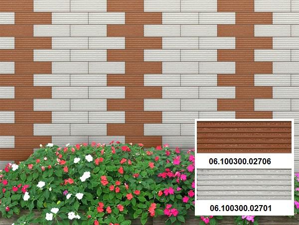 Sự kết hợp giữa 2 mẫu gạch thẻ xẻ rãnh Prime cho khu vực hàng rào