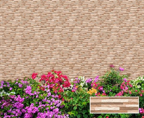 Gạch thẻ ốp tường màu nâu vân đá giả cổ cho không gian hàng rào