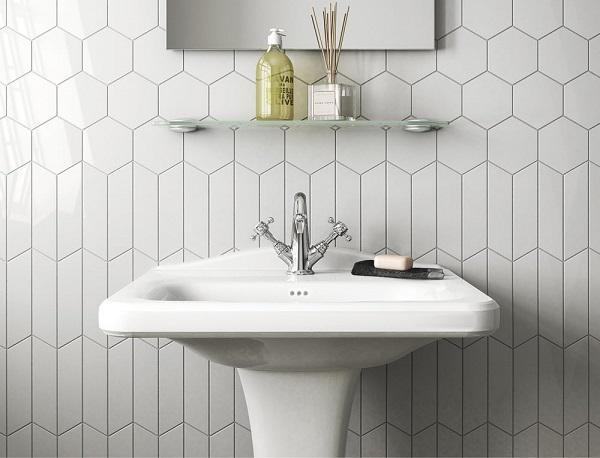 gạch thẻ ốp tường màu trắng nhà vệ sinh