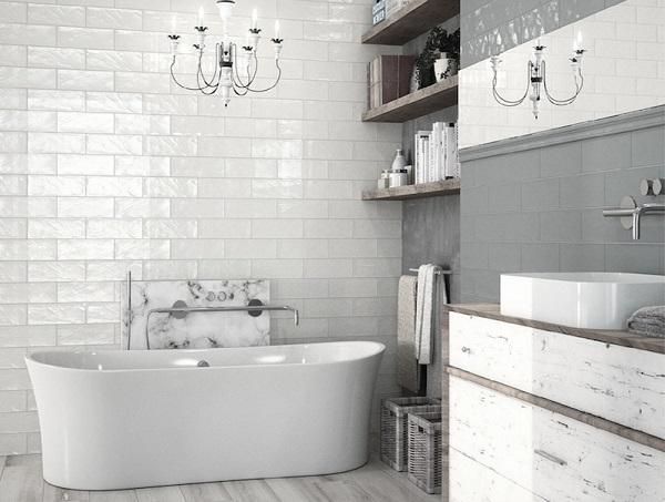 gạch thẻ ốp màu trắng phòng tắm