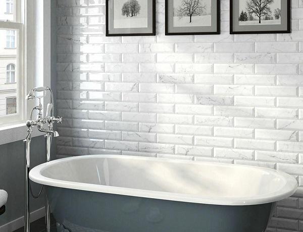 gạch thẻ ốp tường màu trắng vân đá marble