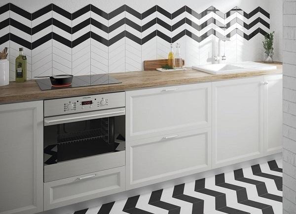mẫu gạch thẻ ốp phòng bếp trắng đen