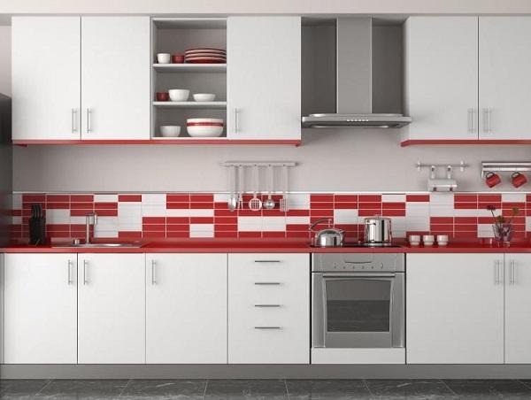 mẫu gạch thẻ ốp bếp màu trắng - đỏ
