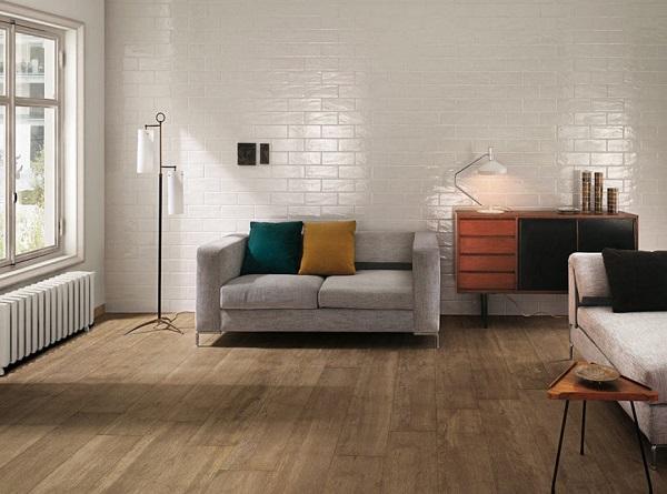mẫu gạch thẻ ốp tường màu trắng phòng khách