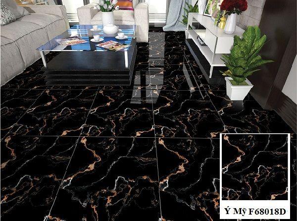 Gạch lát nền 600x600 màu đen Ý Mỹ F68018D vân đá marble cho phòng khách sang trọng