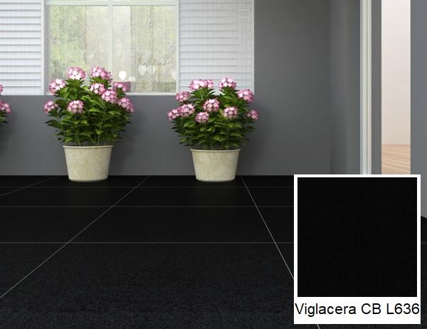 Mẫu gạch Viglacera màu đen trơn bán mài Viglacera CB L636