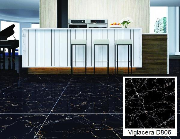 gạch lát nền 60x60 đen vân đá marble Viglacera D806
