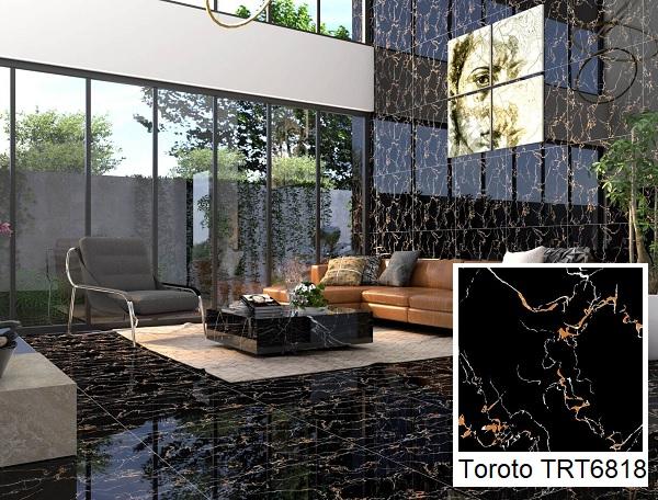gạch lát nền 60x60 đen vân đá TRT6818