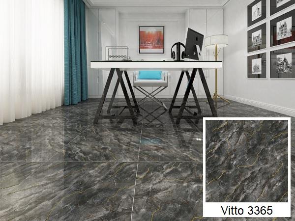 Mẫu gạch lát nền vân đá Vitto màu đen 3365 sang trọng