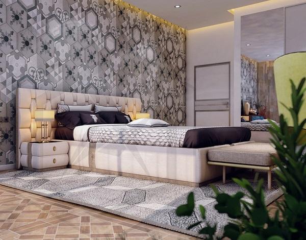 Mẫu gạch bông trang trí ốp tường phòng ngủ