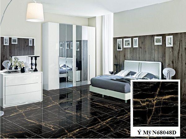 Gạch lát nền Ý Mỹ N68048D gam màu đen tinh tế cho không gian phòng ngủ