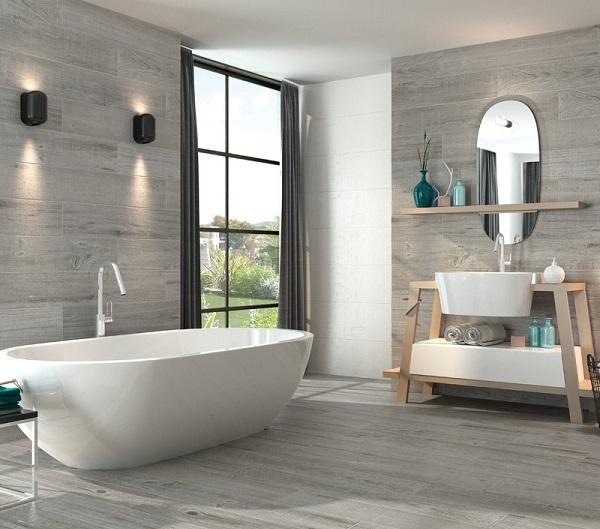mẫu gạch giả gỗ màu xám sử dụng cho không gian phòng tắm