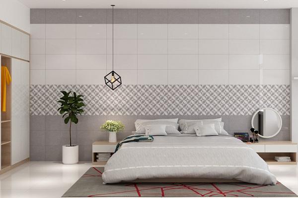 gạch ốp tường nhà cấp 4 màu ghi xám cho không gian phòng ngủ