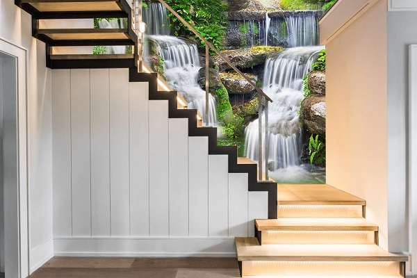 gạch ốp tường 3d cầu thang phong cảnh thác nước