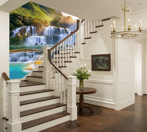 gạch ốp tường 3d khu vực cầu thang phong cảnh thác nước và núi non