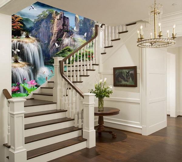 gạch ốp tường cầu thang 3d