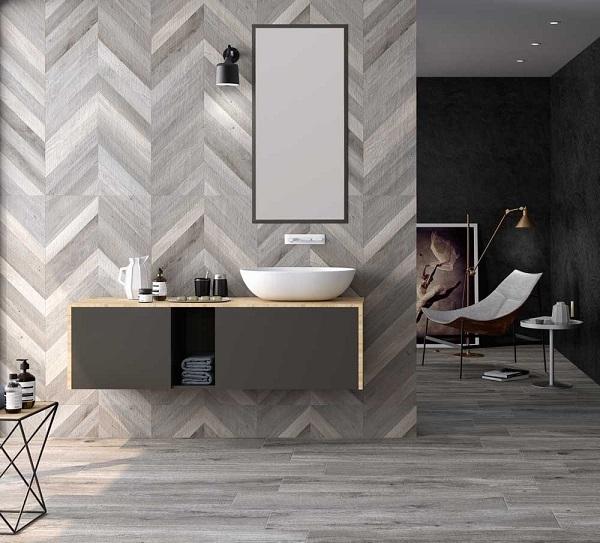 Mẫu gạch ốp tường giả gỗ kiểu họa tiết chevron