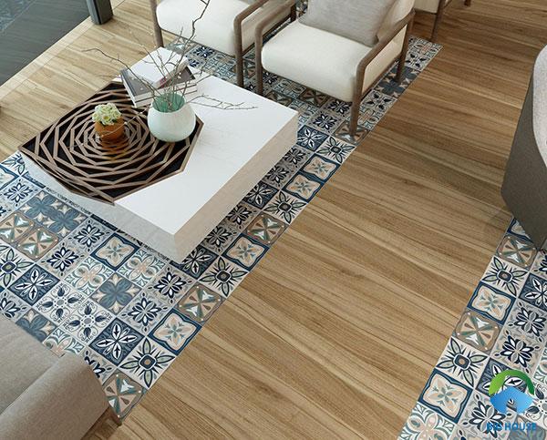 mẫu gạch bông hoa văn kết hợp cùng gạch vân gỗ lát sàn