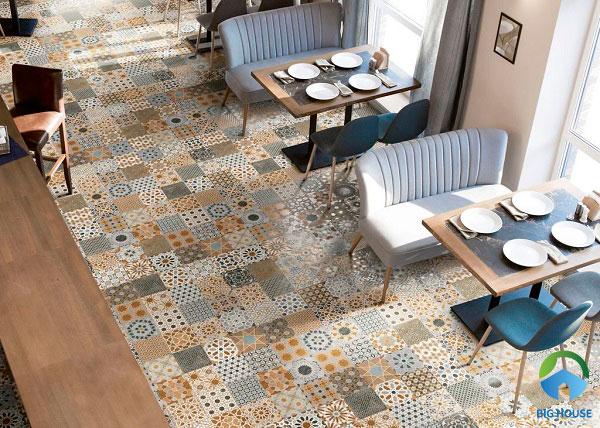 Gạch bông lát nền đa họa tiết lát sàn quán cà phê