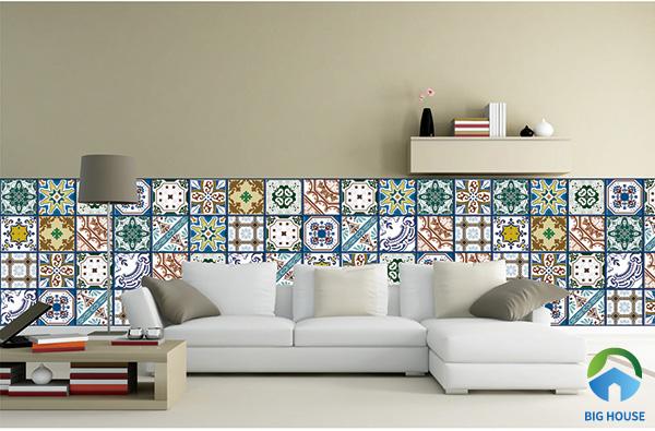 Mẫu gạch hoa văn ốp tường phòng khách đa sắc màu