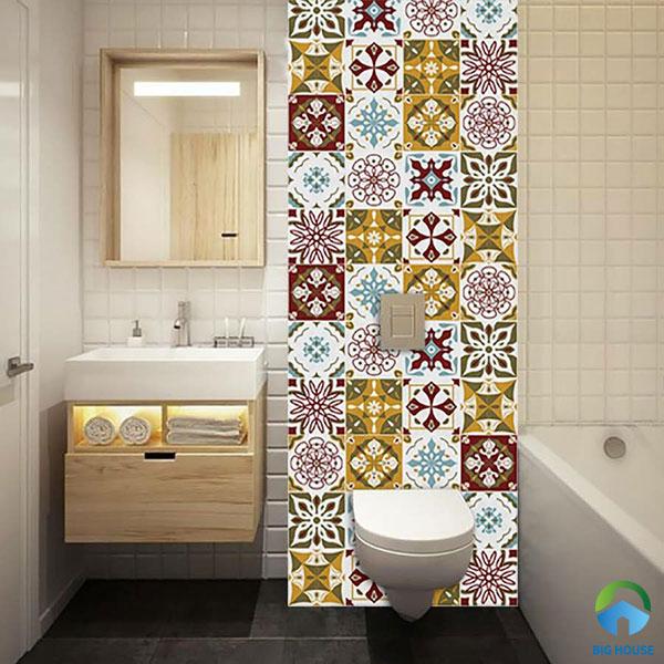 Mẫu gạch bông hoa văn cổ điển đa sắc màu ốp phòng tắm
